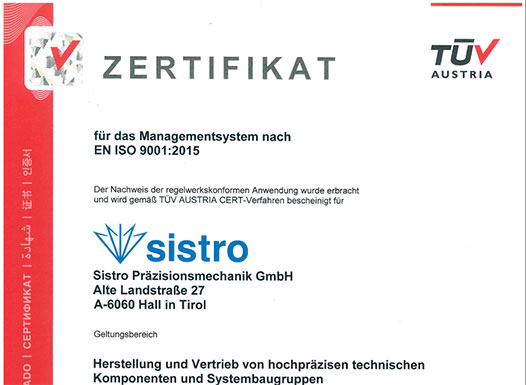 Downloads - Cards - EN ISO 9001:2015 Zertifikat